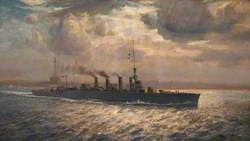 HMS 'Chester' in the Mersey