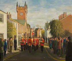 3rd Battalion 'B' Company 22nd (Cheshire) Regiment about to Depart from the Old Drill Hall, Macclesfield for the New Ypres Barracks 3 No. 1990