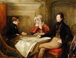 General John Le Mesurier (1781–1843) and His Wife Martha with a Legal Representative of the British Government at the Handing over of the Island of Alderney