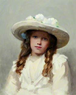 Portrait of a Young Girl in a Large White Hat