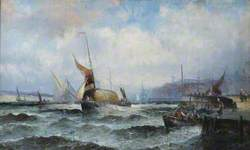 Estuary Scene with Thames Barges and People in Rough Weather