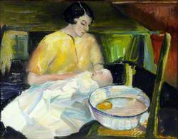 Joan, Lady Cook (1915–1995), Bathing Her Son Christopher