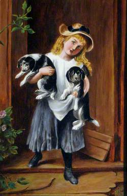 Young Girl with Two Puppies