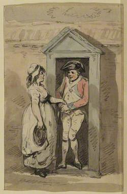 Sentry in His Box, with a Young Woman