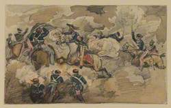 Battle Scene – Fight Between Cavalrymen and Infantry