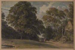 Landscape View of a Large Tree and Houses in Horton