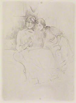Berthe Morisot dessinant, avec sa fille (Berthe Morisot Drawing, with Her Daughter)
