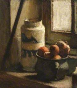 Still Life with Bowl of Fruit by a Window