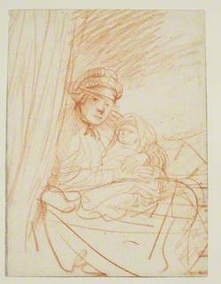 Saskia Sitting Up in Bed, Holding a Child
