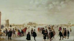 Winter Landscape on the River Ijsel, near Kampen, Holland