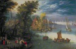 River Landscape with a Village and a Landing