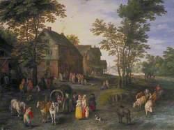 Village Landscape with Figures Preparing to Depart