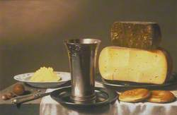 Still Life with Beaker, Cheese, Butter and Biscuits