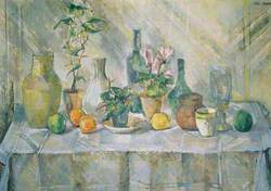 Still Life with Plants and Bottles