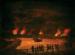 Figures by Chelsea Waterworks, London, Observing the Fires of the Gordon Riots, 7 June 1780