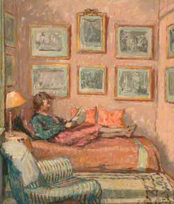 Girl Reading on a Sofa, Auppegard, France