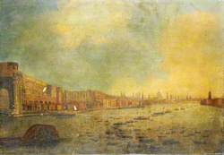 The Adelphi and the City from the River, London, with the Funeral Procession of Lord Nelson
