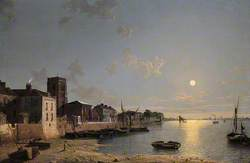 Cheyne Walk in Chelsea, London, by Moonlight