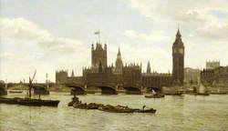 Westminster Bridge and the Houses of Parliament from the River, London