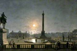 Northumberland House and Whitehall from the North Side of Trafalgar Square, London, by Moonlight