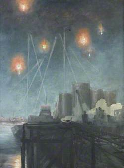 Night Air Raid with Anti Aircraft Shells Exploding over Oil Tanks