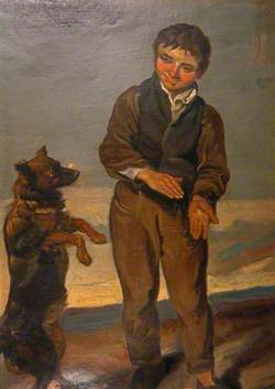 Boy Teaching a Dog a Trick