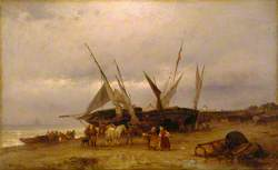 Seascape with Fishing Boats and Figures on the Shore