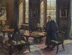 Sir Henry Thirkill (Master), with William John Harrison (Bursar) and William Telfer (Dean) (Conversation Piece)