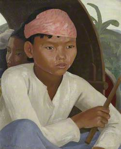 Burmese Boy in a Bullock Cart