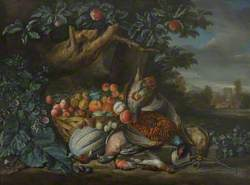 Dead Game and a Basket of Fruit in a Woodland Setting