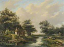Riverscape with Cottage and Cattle