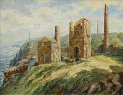 Cornish Engine Houses and Coastal Scene