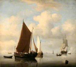 A Calm Sea with Two Fishing Boats, a Man of War Firing a Salute Beyond