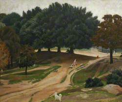Hampstead Heath (Figures and Dogs amongst Trees)