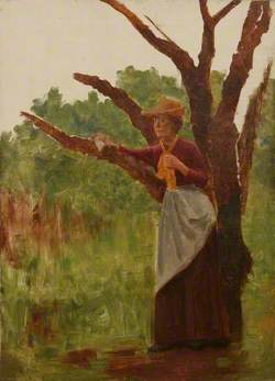 Woman Standing beside a Tree