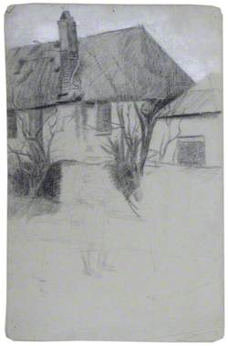 House with Trees and Figures