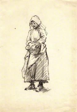 Charcoal Study of Girl with Basket