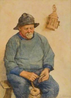 Fisherman Threading Cork Floats