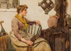 Woman Mending Nets