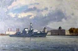 HMS 'Westminster' off Greenwich