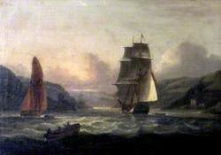 Mouth of the Dart with a Merchant Ship Entering