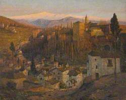 Afterglow, the Alhambra and Sierra Nevada, Granada, Spain