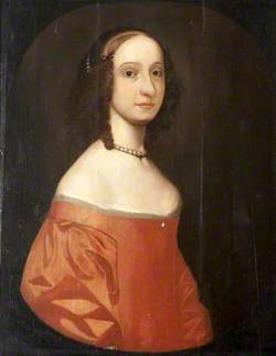 Portrait of a Young Girl in a Crimson Dress Wearing a Pearl Necklace