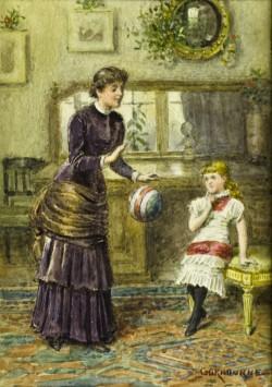 Woman and Girl Playing Ball