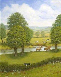Dorset Landscape with a River and Cows