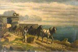 Horses Drawing a Stone Cart on the Cliffs at Portland, Dorset