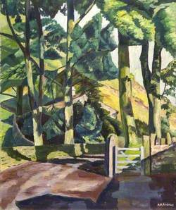 Road, Cottage, Gate and Trees