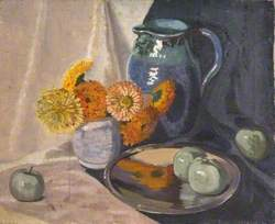 Still Life with a Jug, Flowers and Fruit