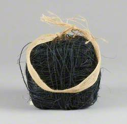 121 Linked Cubes: Cube Covered in Black Jute Twine