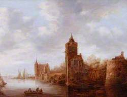 River Scene with a Castle